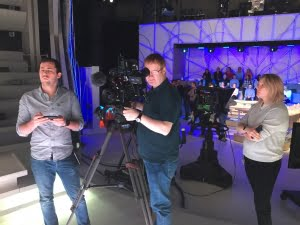 Filming in the Canal Plus studio