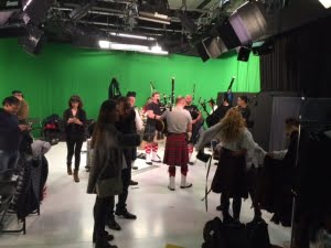 French bagpipers at canal plus studio