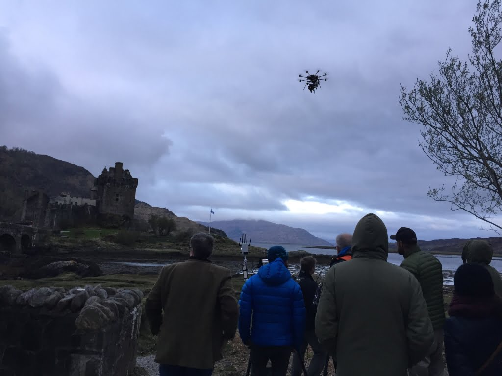 Drone filming at Eilean Donan castle in Scotland, Vulvan Raven Heavy Lift Drone
