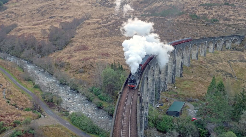 Drone screen grab from Highland Spring Ad Glenfinnan Steam Train