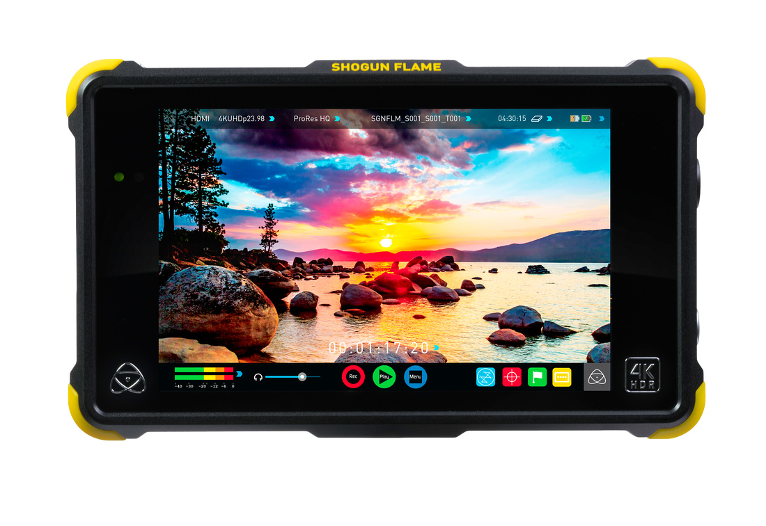 Front view of the Shogun Flame field monitor by Atomos