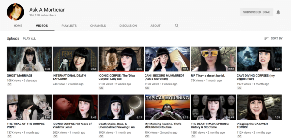 YouTube channel Ask a Mortician