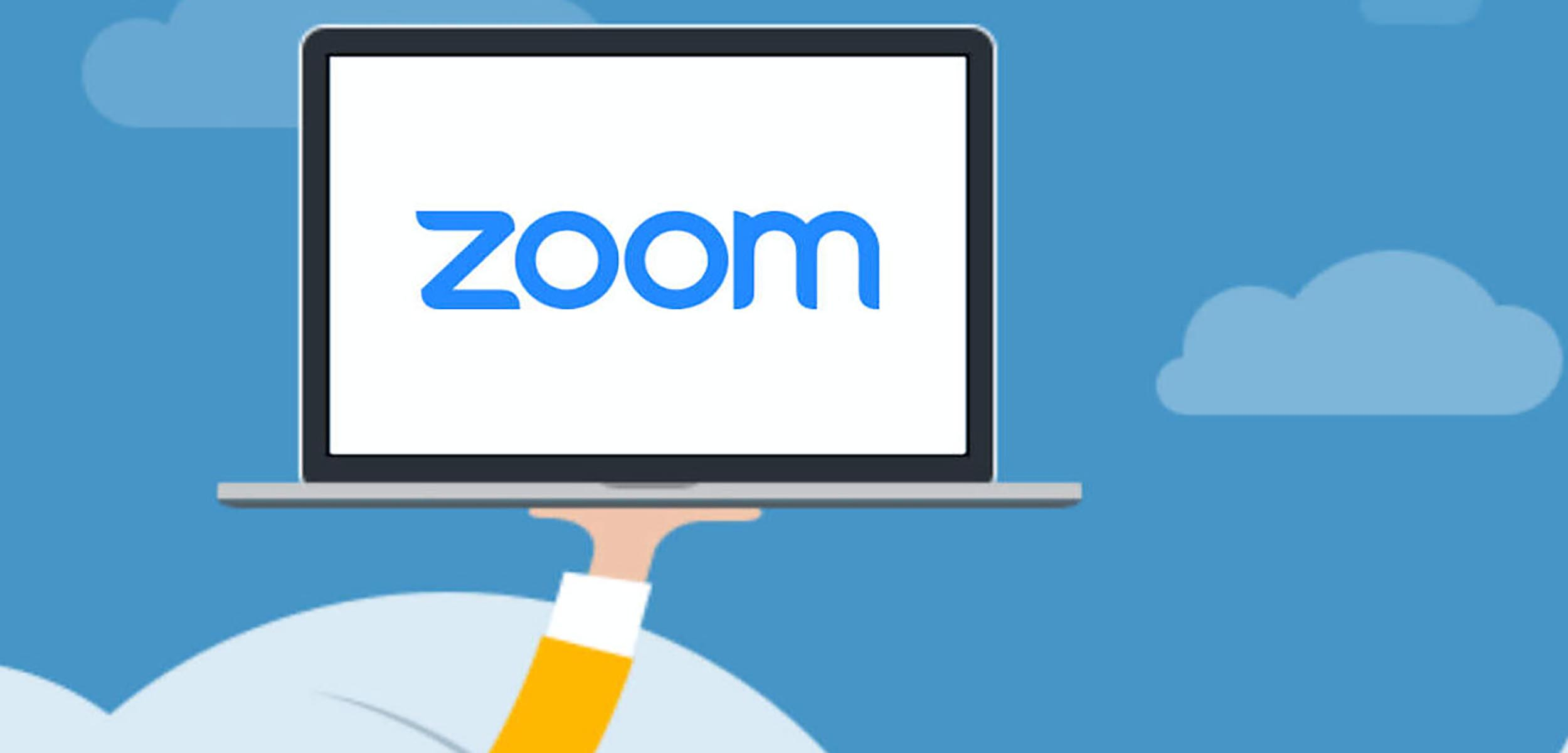 Laptop graphic with Zoom logo