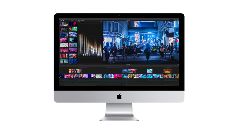 iMac with video editing software timeline displayed
