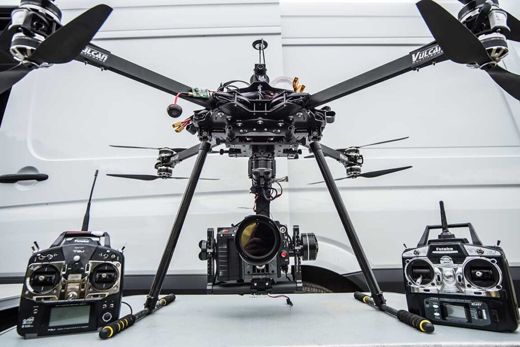 Vulcan UAV Drone with remote controllers and camera attached