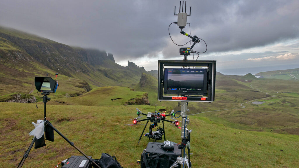 large drone and various screens for viewing in remote location