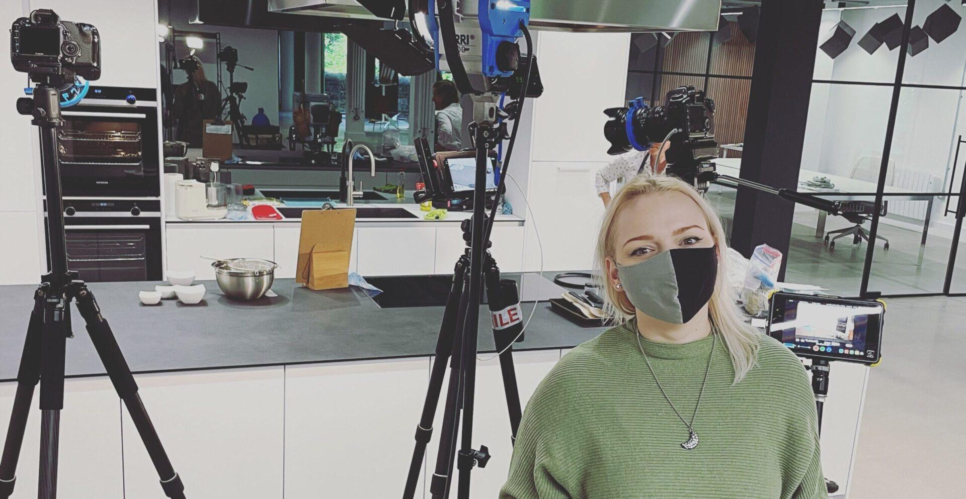 Annie on set of Flavours kitchen